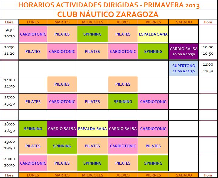 Club n utico zaragoza horario actividades gym for Horario gimnasio