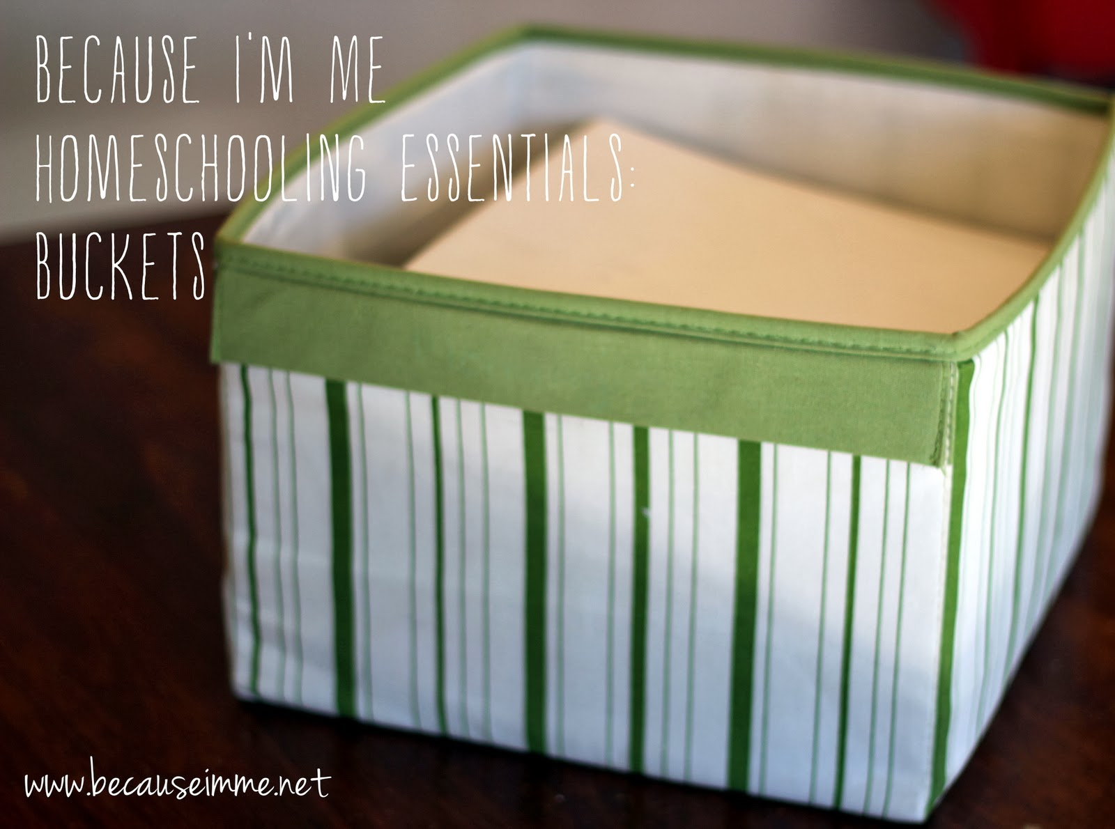 Because I'm Me Homeschooling Essentials: Buckets, sharing what works for a larger homeschooling family