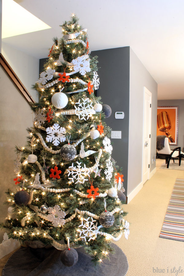 Orange Gray and White Modern Christmas Tree