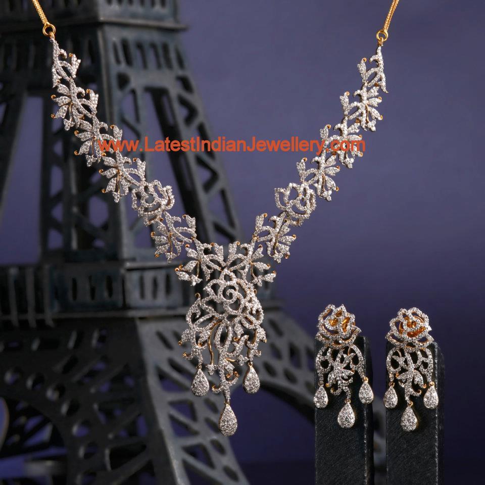 Bhima Jewellery Bands: Designer Diamond Bridal Necklace Set