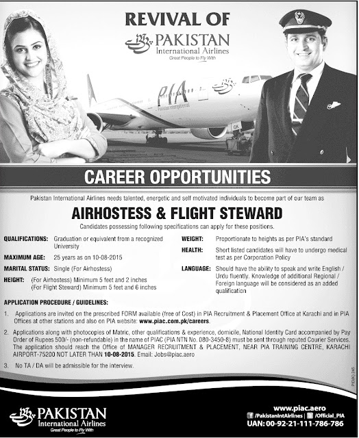 Jobs in PIA for Air Hostess & Flight Steward