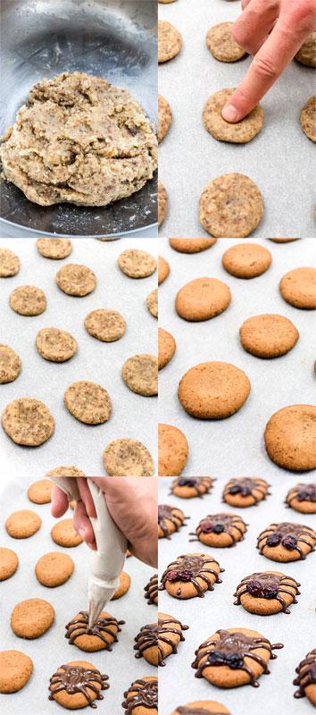 Vegan almonds cookies halloween spiders how to make spiders