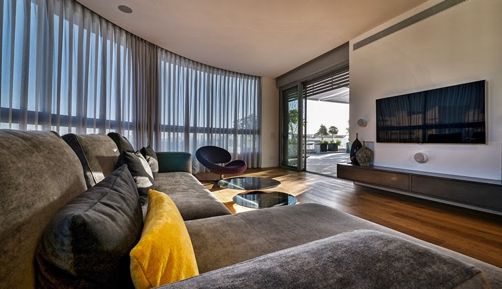 Living room furniture in the Penthouse Apartment in Ramat HaSharon, Israel