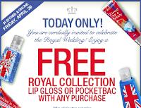 Free Royal Collection Lip Gloss/Pocket Bac