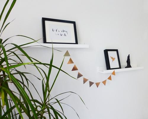 Dekoration mit Kupfer black white Wimpelkette DIY Typo-Poster