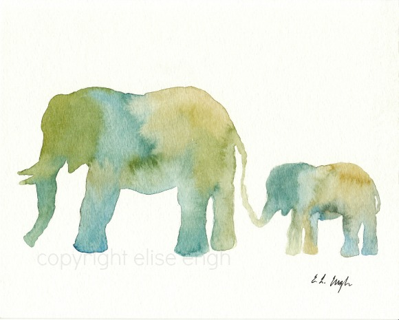 Mom and Baby Elephant Watercolor Painting