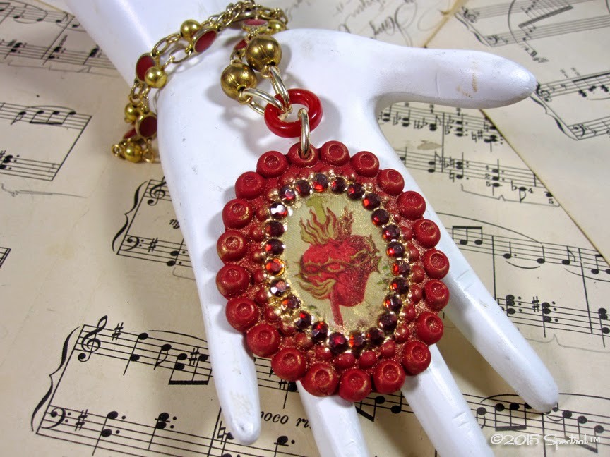Stunning one of a kind Sacred Heart  Statement Necklace