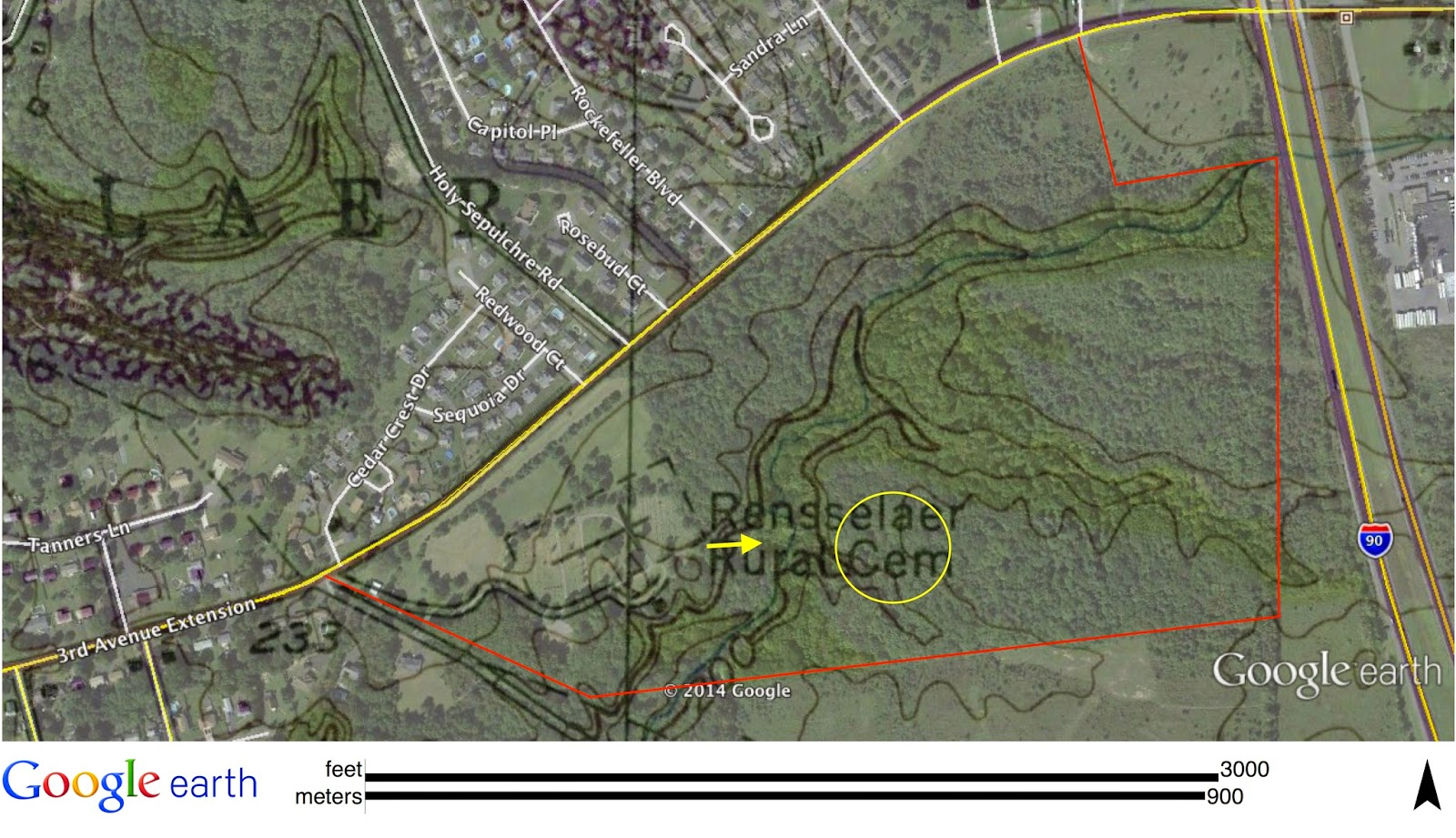 the red line roughly outlines all the cemetery s land most of it undeveloped and forested