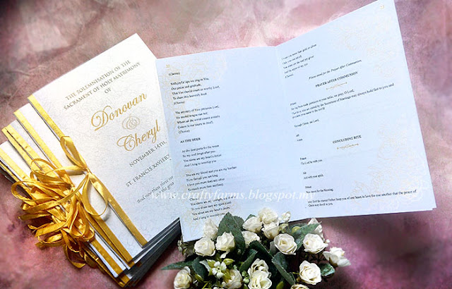 Church Ceremony Programme Booklet with Gold Ribbon