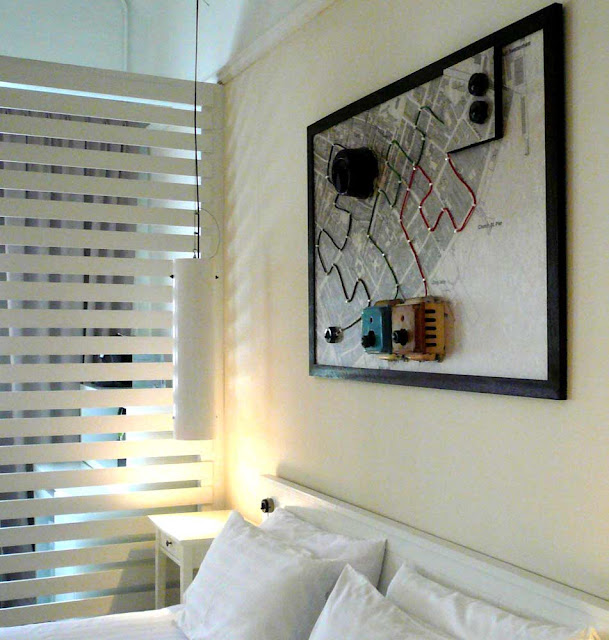 Wall Decorative Artworks - Assemblage Old Map and Electric Switches