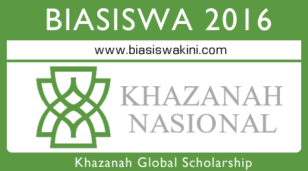 Khazanah Global Scholarship 2016