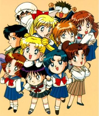 Dibujo de Sailor Moon de niña con sus amigos