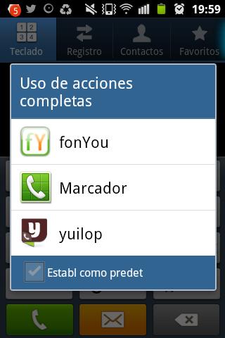 Como elegir como llamar desde la aplicación de Android