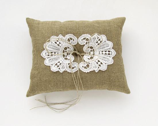 Burlap Pillow, свадебная подушка