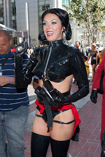 Adrianne Curry as Aeon Flux after kicked out of Comic-Con