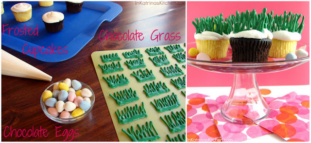 "Easter Egg Hunt Cupcakes -chocolate eggs hidden inside chocolate ""grass"" @katrinaskitchen"