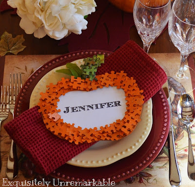 puzzle piece pumpkin place card