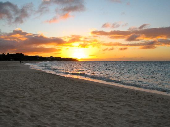Long bay at sunset Anguilla