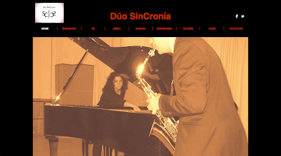 Duo SinCronia Saxophone and Piano Duo recently established (2011) that has been dedicated since its creation to promote and divulge contemporary music. Despite its short existence, Dúo SinCronía has already premiered works by Antonio J. Flores, Juan de Dios García Aguilera, Eneko Vadillo, Paco Toledo and others.