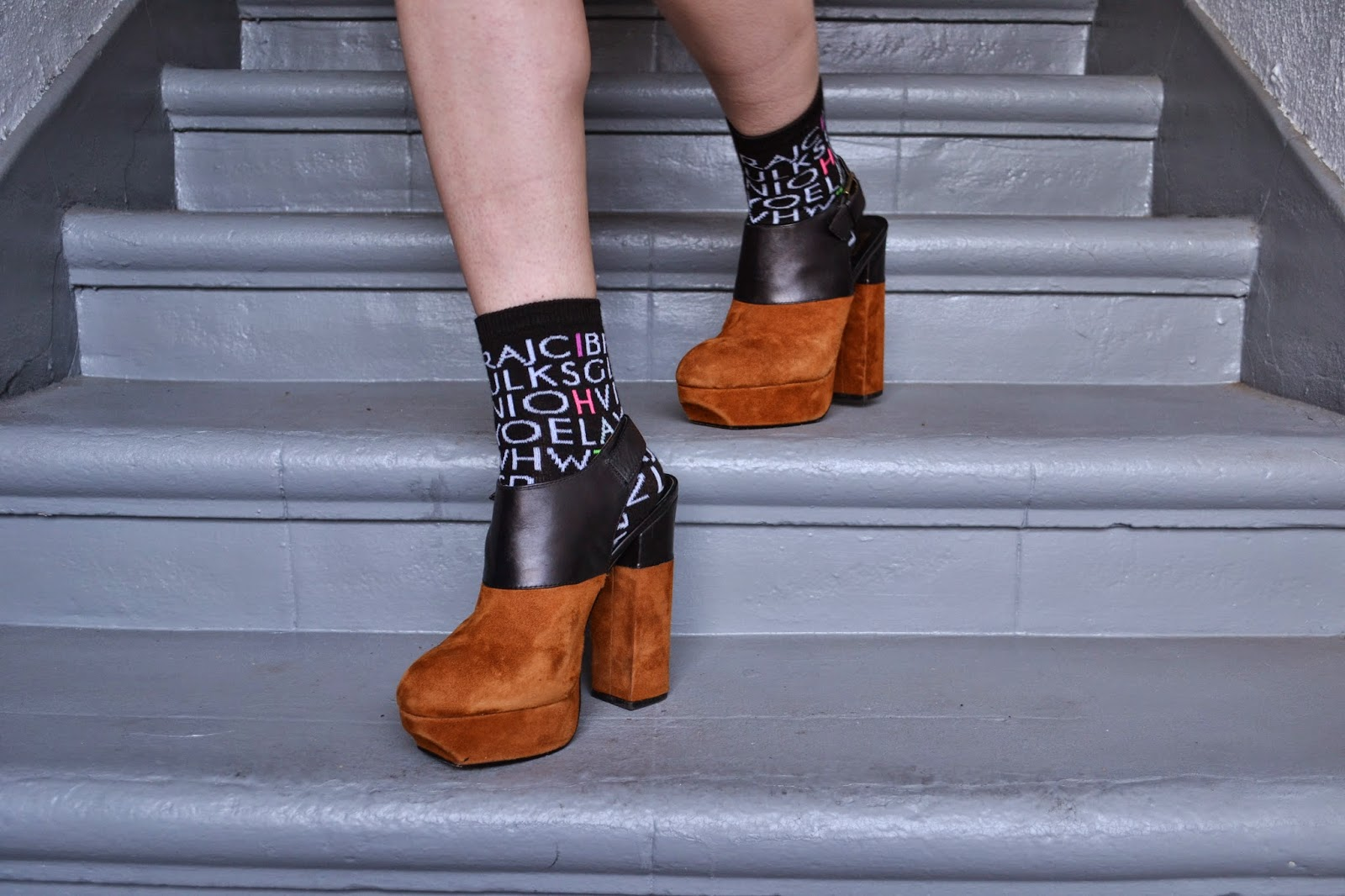alphabet sock, platform, colorblock, jeffrey campbell, fashion, socks, accessories, budget