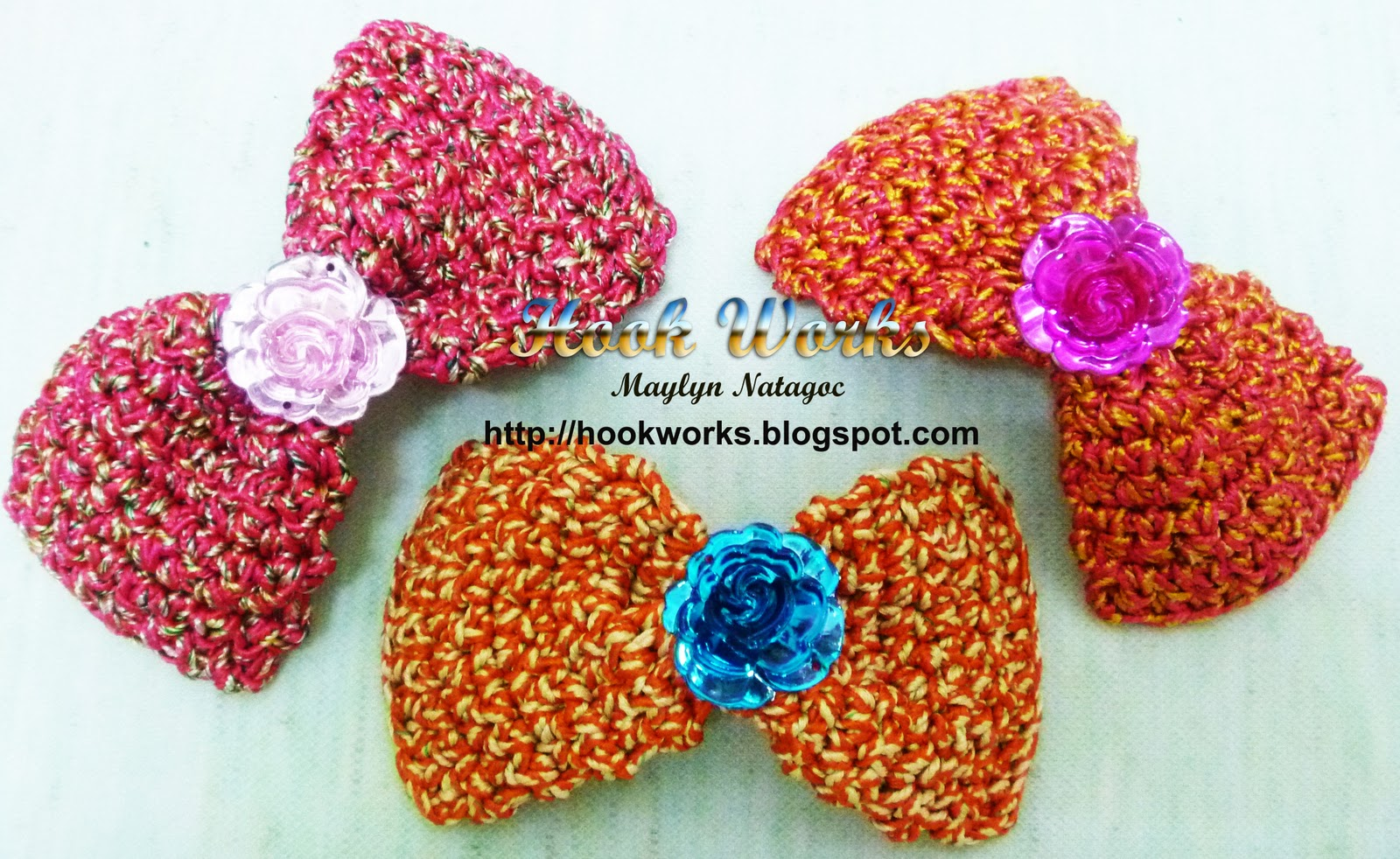 crocheted ribbon hair clip using sutache cords crocheted flower hair ...