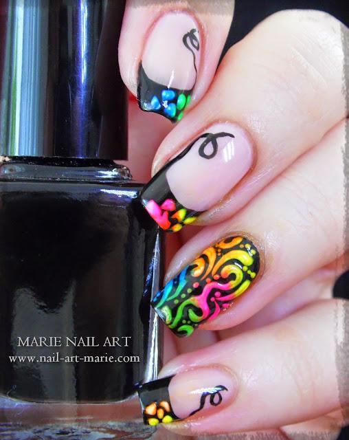 Nail Art Frenh et Arabesques Fluo7