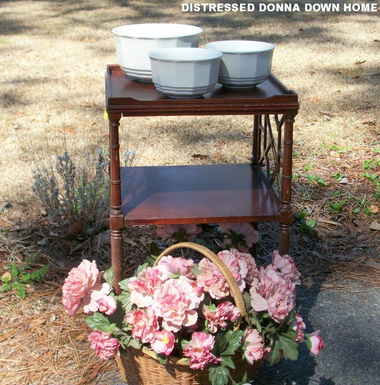 Vintage finds, ironstone bowls, yardscaping, yard art, suitcases