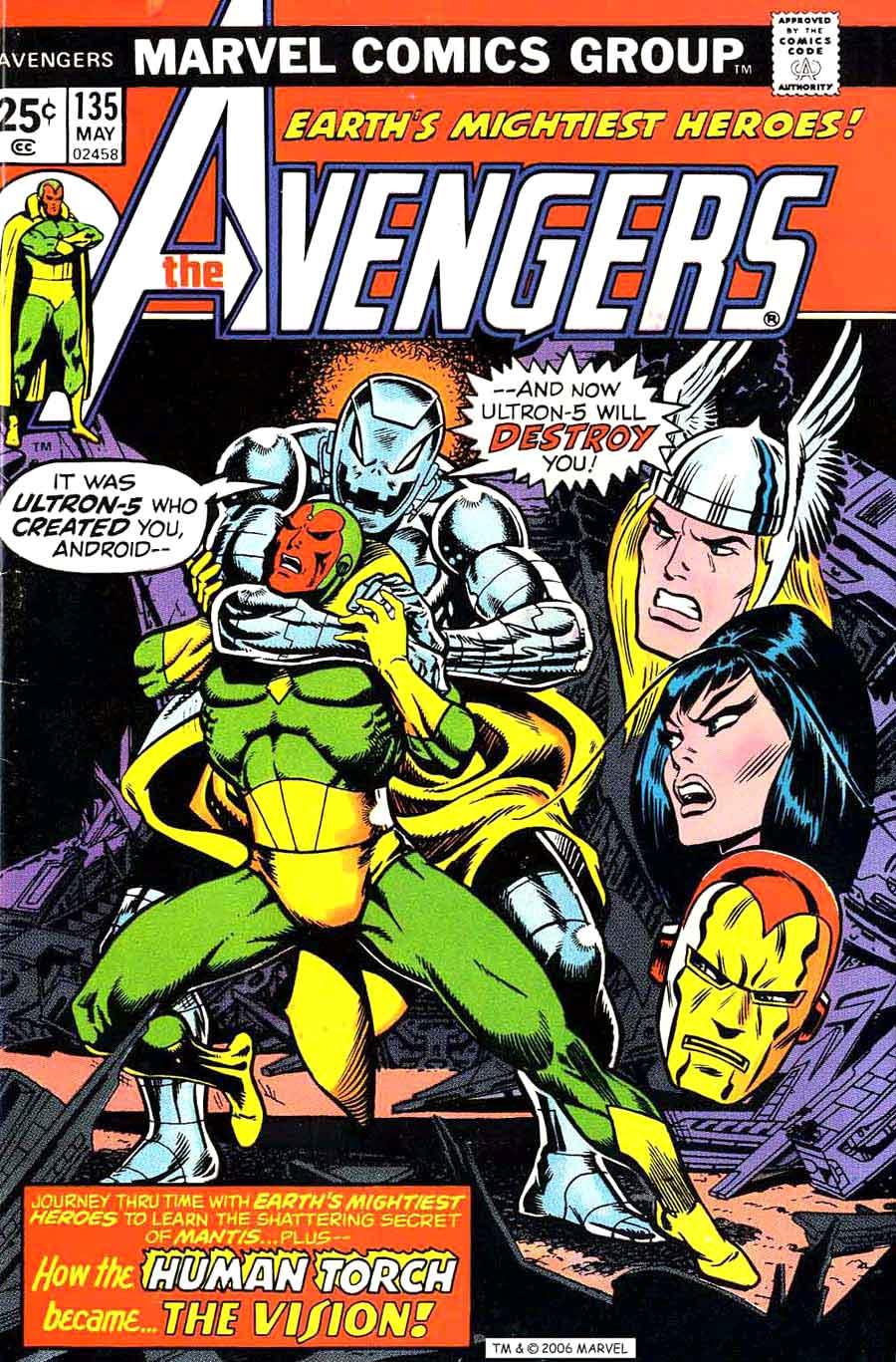 Avengers V1 135 Marvel Comic Book Cover Art By Jim Starlin