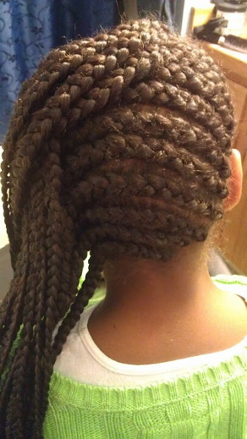 Long hair with natural cornrows