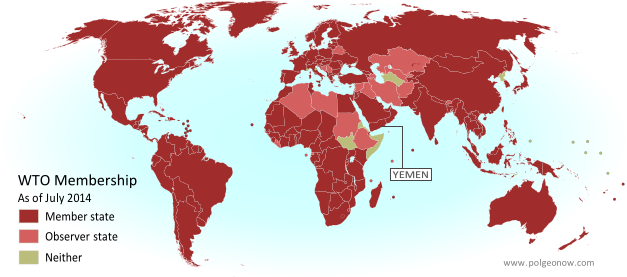 Map of World Trade Organization (WTO) member and observer countries, updated for July 2014 to include new member Yemen