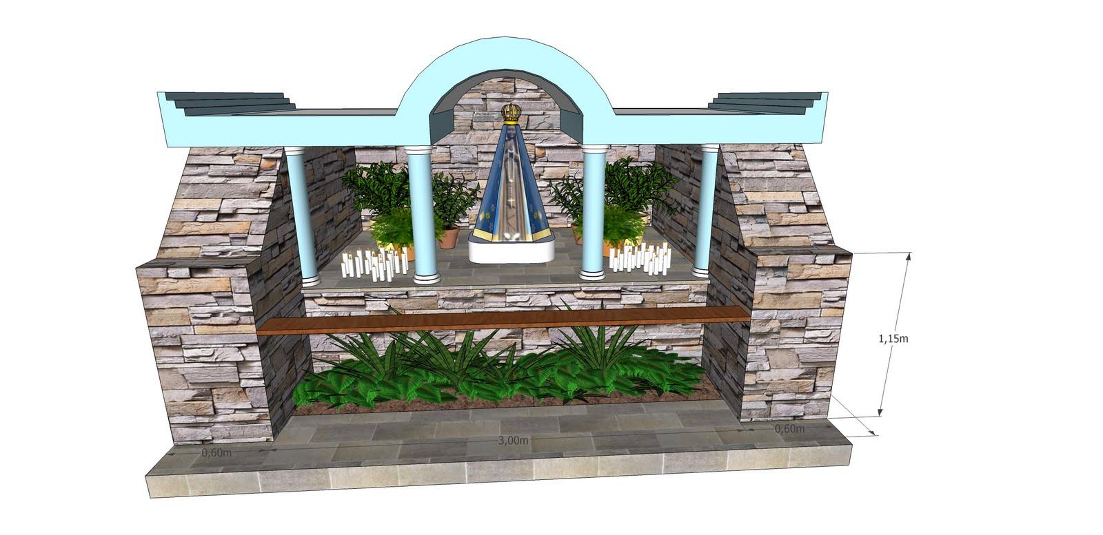 projeto de gruta de jardim : projeto de gruta de jardim:NineArqBlog: Gruta Nossa Senhora Aparecida Boa Vista do Incra