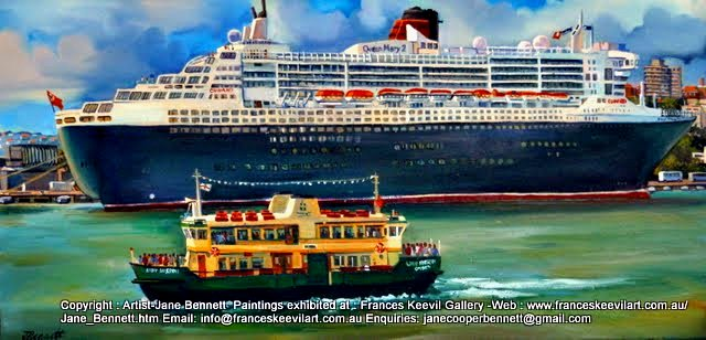 oil painting of the Queen Mary super liner with the ferry 'Lady Herron' docking at Garden Island  Sydney Harbour by artist Jane Bennett