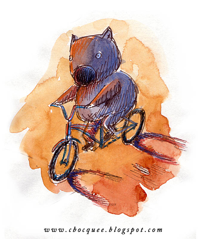 illustration of wombat riding a bicycle
