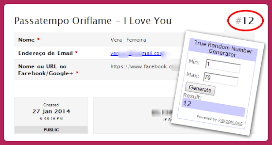 Passatempo Oriflame - I Love You - Resultado