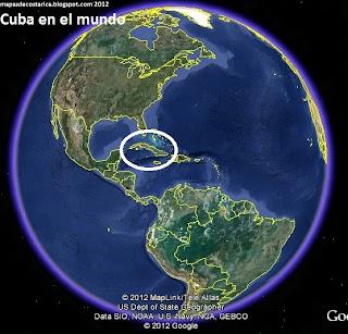Cuba en el mundo, vista con el google earth 2012