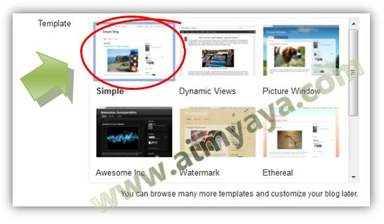Gambar: Memilih template blog