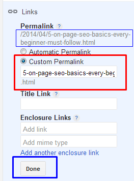 How to use 'Custom Permalink' feature in blogger for On-Page SEO.