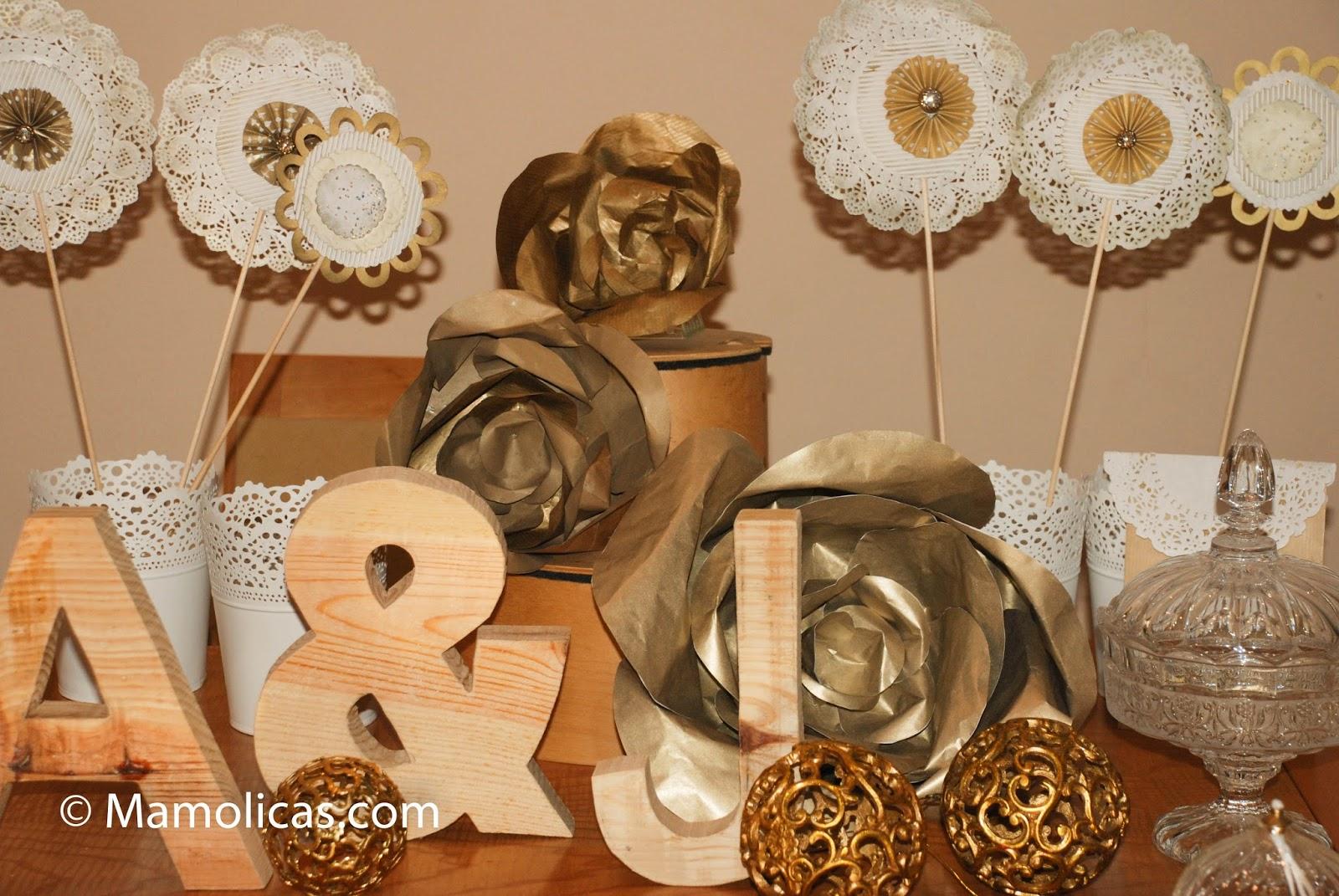 Mamolicas decoraci n bodas de oro detalles mesa dulces for Fotos de mesas de bodas