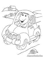 Barney Dinosaurus Mengemudi Mobil