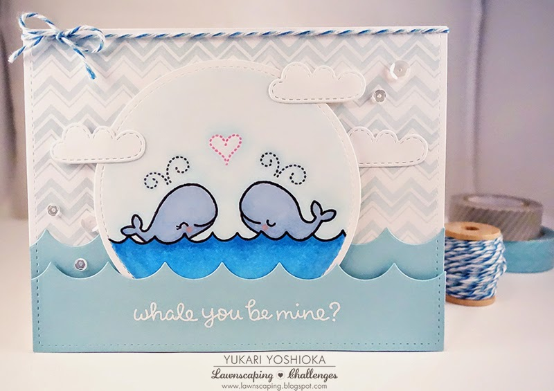 Lawnscaping January Blog Hop Card by Handmade By Yuki | Whale You Be Mine by Lawn Fawn