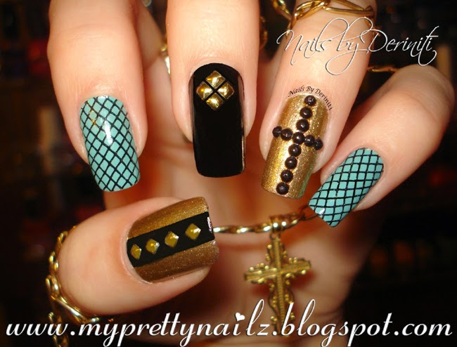 ... Christian Easter Nails with Black Rhinestone Cross Nail Art Design and