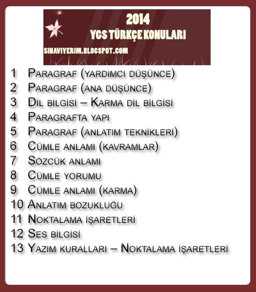 YGS Türkçe Konuları