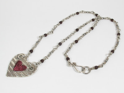 PMC fine silver heart beaded necklace
