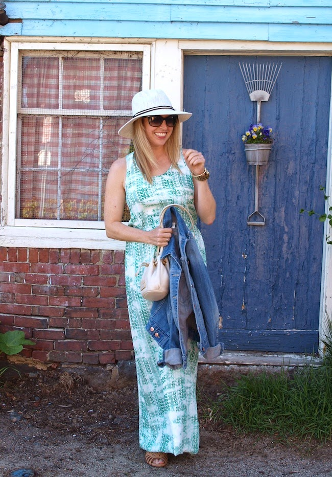 Parker Cassie Dress, Vince Camuto Hat, American Eagle denim jacket, Shoemint sandals, Zappos
