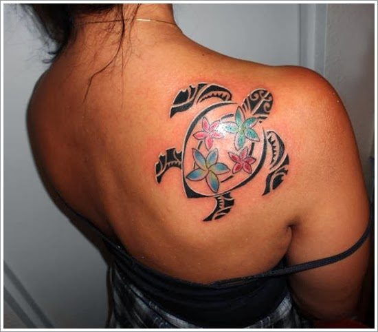 Turtle Tattoo Design On Back Body Female