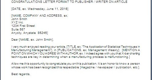 Congratulations Letter To Author