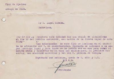 Carta del Frente de Juventudes a Ángel Ribera, 1952
