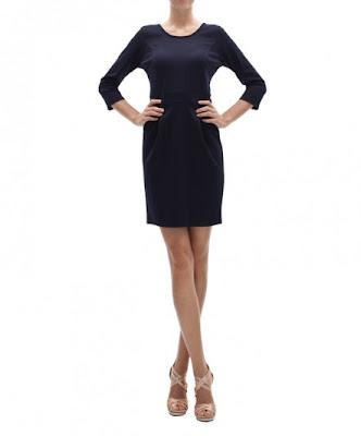 koton klasik kesim elbise, dar kesim, kısa mavi siyah elbise modeli