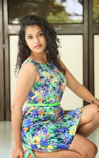 Bhargavi cute new Actress looks lovely in Floral Short Dress at Life After Death Movie Press Meet