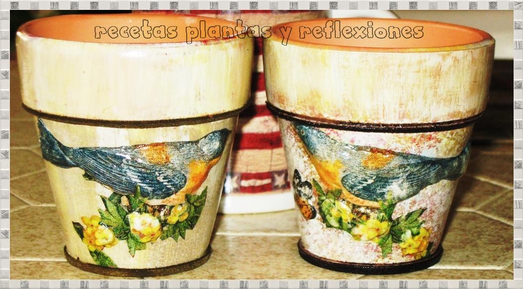 recetas plantas y reflexiones: macetas de barro en decoupage con